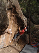 Rock Climbing Photo: John Kear moving into the pocket at the start of t...