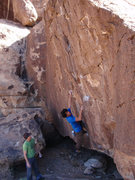 Rock Climbing Photo: Enzo starting up Backdoor Man