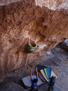 Rock Climbing Photo: Matthew NM making the big move to the white jug th...