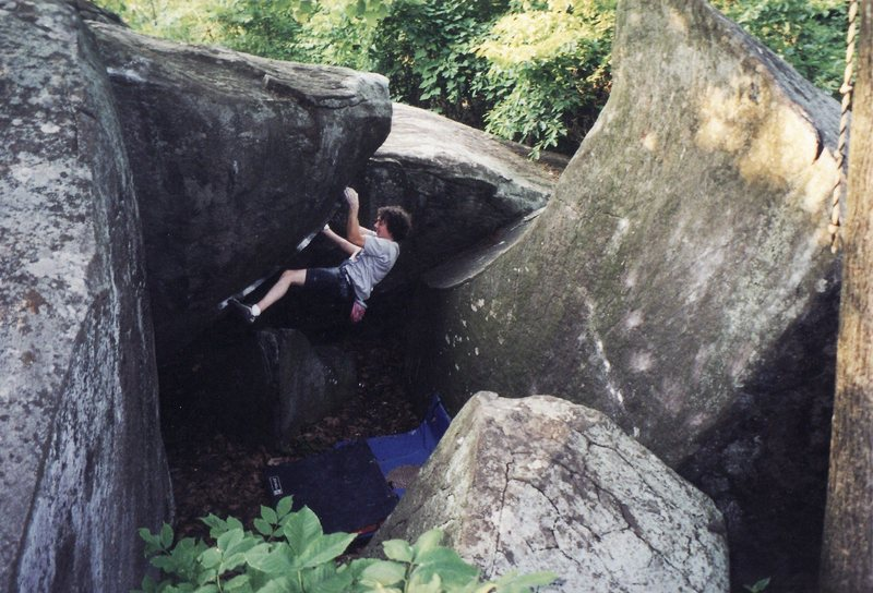 The Bullet Room, an outlying Mt. Gretna area<br> <br> Photo credit Robert McBride.  This photo was on the old newenglandbouldering website for some time.
