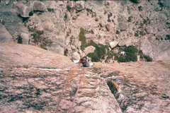 Rock Climbing Photo: Guy Keesee following P1 of From Afar.  Photo by Kr...