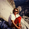 Kristian booting up for the FA of Despairadoes, Tehipite Dome below.<br> <br> Red tights? Check.<br> Nikon shades? Check.<br> Wild times in high places? Priceless!<br> <br> Guy Keesee photo, 7-96.