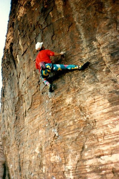 The Max Flex (5.11c), Red Rocks. Photo by Rick Shull (February 1988).