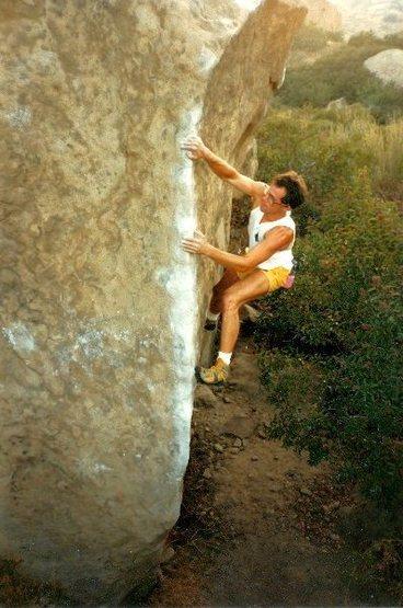 Kodas' Corner (V3), Stoney Point<br> <br> Photo by Tim Fearn (June 1987)