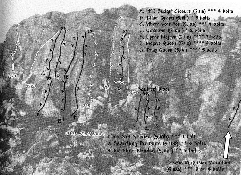 Photo/topo for Upper Walt&@POUND@39@SEMICOLON@s Rocks, Joshua Tree NP<br> <br> Original photo by Randy Vogel (1992 JT Guide)