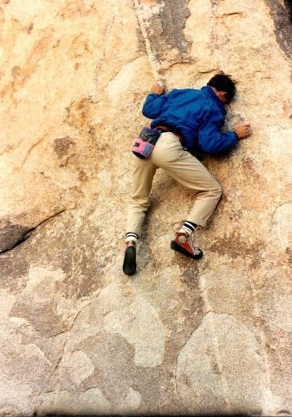 Bouldering at Trashcan Rock, Joshua Tree NP<br> <br> Photo by Jim Hammerle (November 1986)