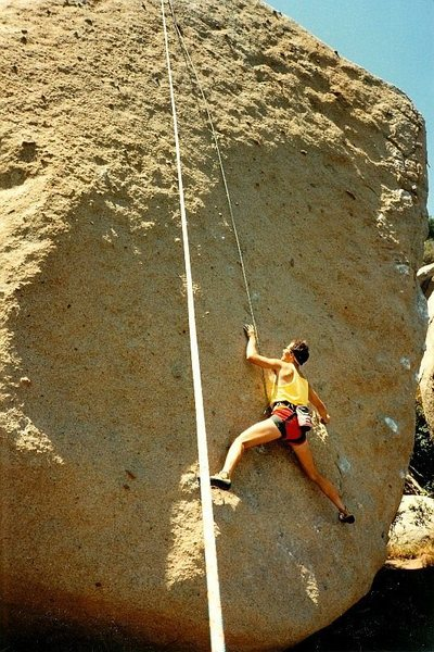 Seminar Wall (5.11d), Mt. Woodson<br> <br> Photo by Tim Fearn (June 1987)