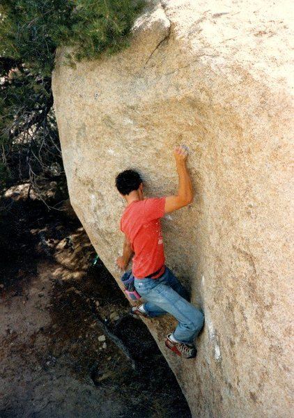 Persistence (V2), Joshua Tree NP<br> <br> Photo by Jim Hammerle (1986)