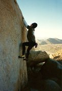 Rock Climbing Photo: Linear Fracture (V2). Mt. Rubidoux. Photo by Tim F...