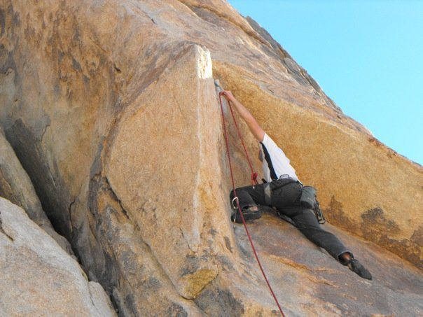 Not particularly exciting, but my first lead outside. Sexy Grandma (5.9?) in Joshua Tree.