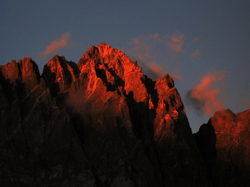 Detail of Mt. Winchell in the evening showing West Arete.
