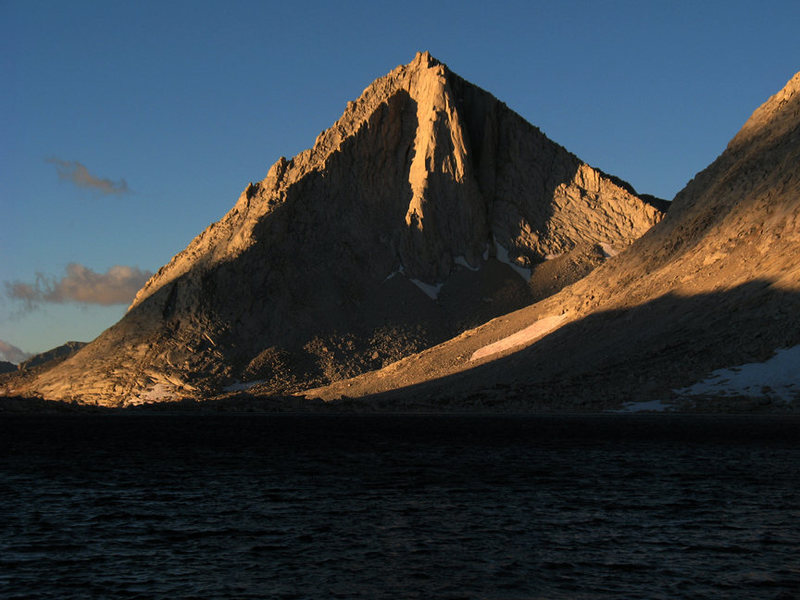 Merriam Peak's North Buttress highlighted by early morning light. Royce Lakes Basin.