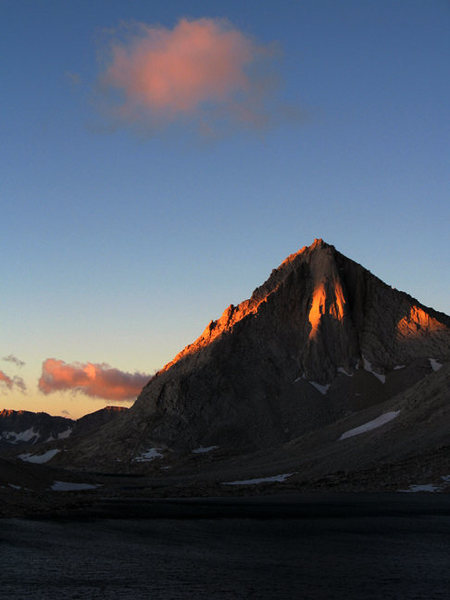 Rock Climbing Photo: Early morning light on Merriam Peak in Royce Lakes...