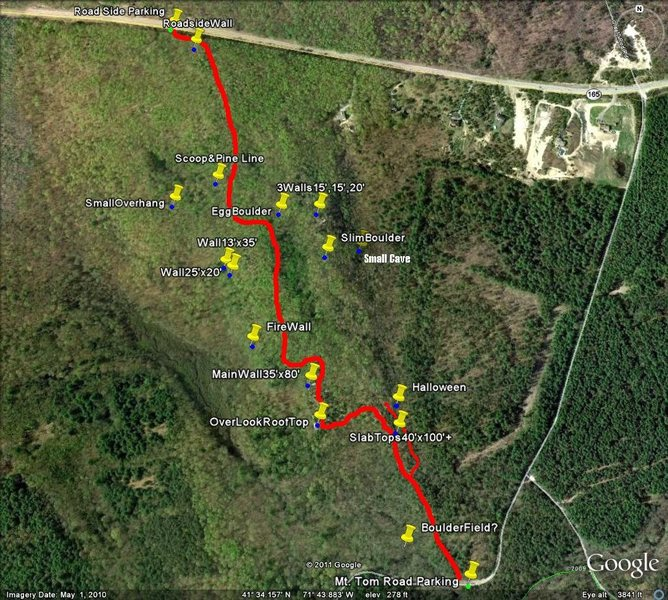 A trail map with areas marked. Trail head to trail head as the crow flies is less than a mile (about 0.8)