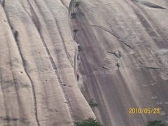 Rock Climbing Photo: stn mtn, nc. south face. view of routes. lt. to rt...