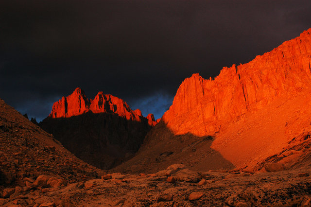 Evening light creates a glow on Mt. McAdie <br> near Crabtree Pass in the Whitney area.