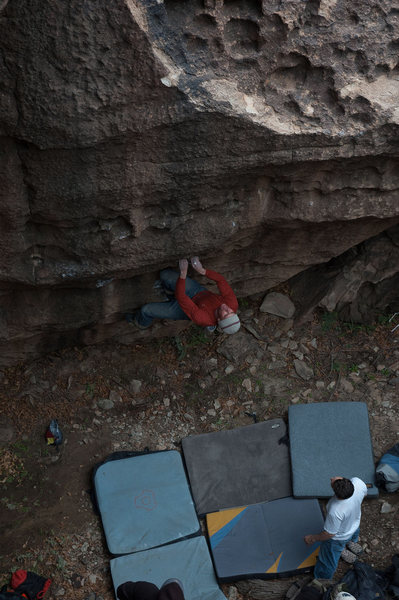Rock Climbing Photo: Matthew NM nearing the middle of the problem and t...