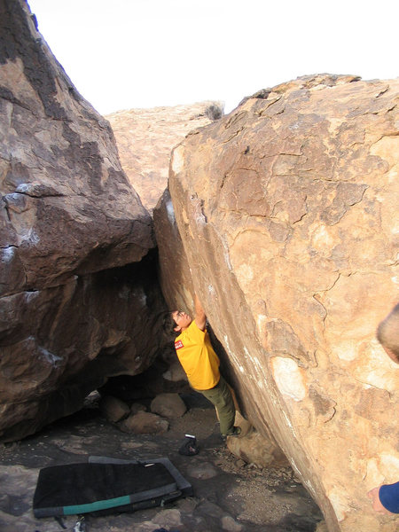 Rock Climbing Photo: Moving through the beginning of the problem. Not r...