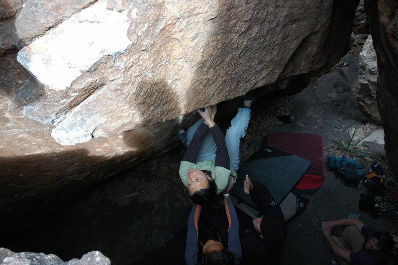 Linda working along the traversing seam of Creamy V3