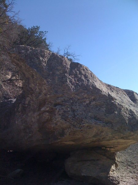 Rock Climbing Photo: Looking upstream at the boulder.