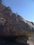 Looking upstream at the boulder.