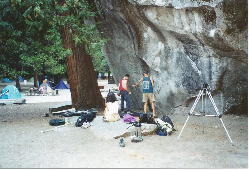"""Italian film maker Michele Radici asked me to be in his film about longtime Yosemite climber Jim Bridwell. """"Jim Bridwell, Yosemite Living Legend"""" was filmed for European countries such as Italy, France, Spain and Germany. Mr. Radici filmed me climbing Midnight Lightning, a boulder problem considered to be one of the most significant bouldering climbs in modern rock climbing.<br>   I was chosen to represent one of """"todays"""" top American climbers and to talk about how American climbers compare to other countries. I have had many renowned photographers film me climbing but I had a hard time signing off on them for varied reasons. Mr. Radici inspired me on this occasion. Such a huge honor!"""