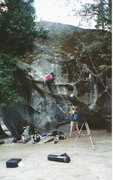 """Rock Climbing Photo: The """"Mantle"""" move. Press down with left ..."""