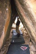 Rock Climbing Photo: Loren at The Wormhole V10 at Tabeuache