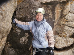 Rock Climbing Photo: Betty Thorson, Happy Climber. Top of climb.
