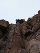 Rock Climbing Photo: Near the top.  Notice the big chunk of rock that i...