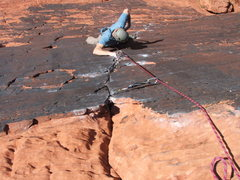 Rock Climbing Photo: Troy Cleaning the Panty Line 5.10a