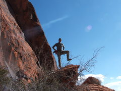 Rock Climbing Photo: Greg doing the captain pose at the base of the Red...