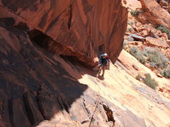 Rock Climbing Photo: Troy on first pitch of The Great Red Book 5.7