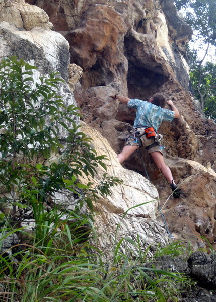 Rock Climbing Photo: Moving up to the overhang.  By Ram Sripracha