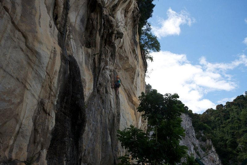 Rock Climbing Photo: Fist full of hangers almost at the anchors.  By Ra...