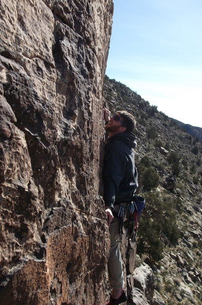 Leading the crux of the 2nd pitch.