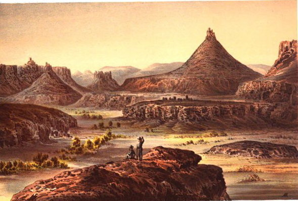 This painting was taken from engravings made during the 1859 Macomb Expedition, which attempted to locate the confluence of the Green and Colorado Rivers   in the present-day Needles District of Canyonlands National Park.  Anyone who has spent time in Indian Creek will recognize the features here.<br> <br> If you're interested, the survey's official report, as well as more landscape paintings like this one, are available in full on google books.<br> <br> http://books.google.com/books?id=674QAAAAIAAJ&printsec=frontcover&dq=macomb+expedition&hl=en&sa=X&ei=DvEeT9KcFvC40gHIuukH&ved=0CDkQ6AEwAg@POUND@v=onepage&q=macomb%20expedition&f=false