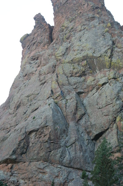 James halfway up. Free solo.