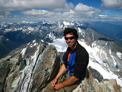 Rock Climbing Photo: Enjoying a rare, clear day on Mt. Sir Donald