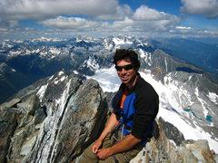 Rock Climbing Photo: Enjoying a rare, clear day on Mt. Sir Donald