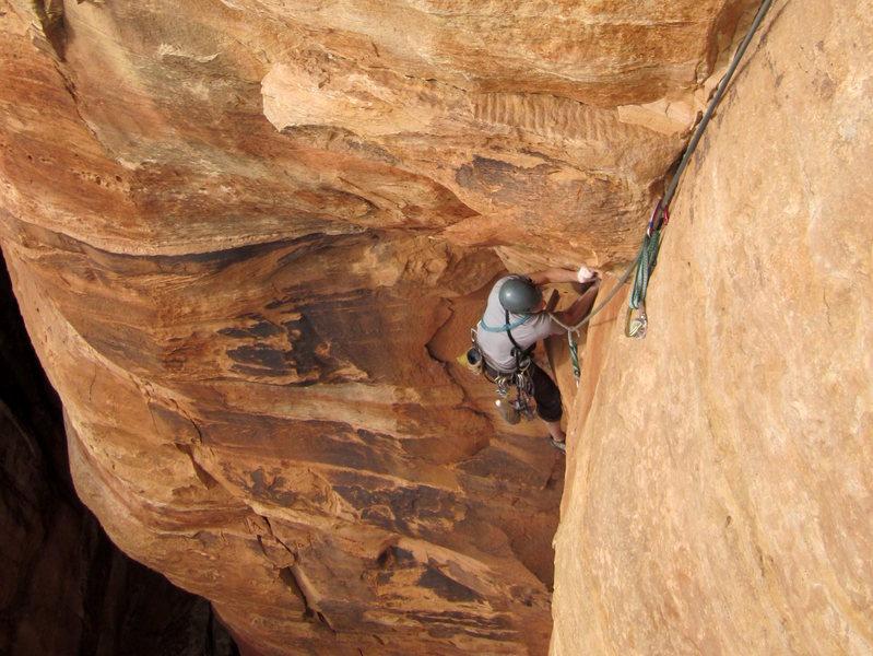 Rock Climbing Photo: Roman busting a gut up the weird mantle