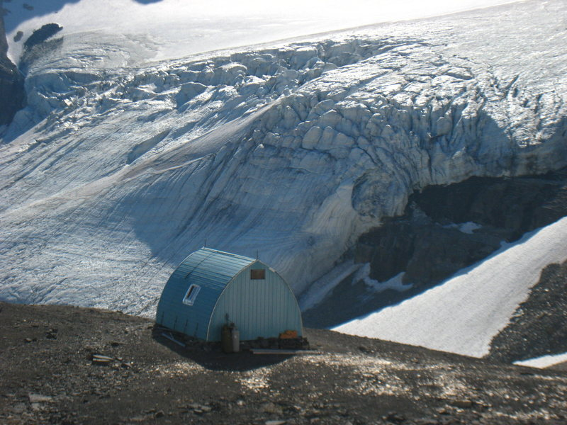 The RC Hind hut at the base of the North Face of Mt. Assiniboine