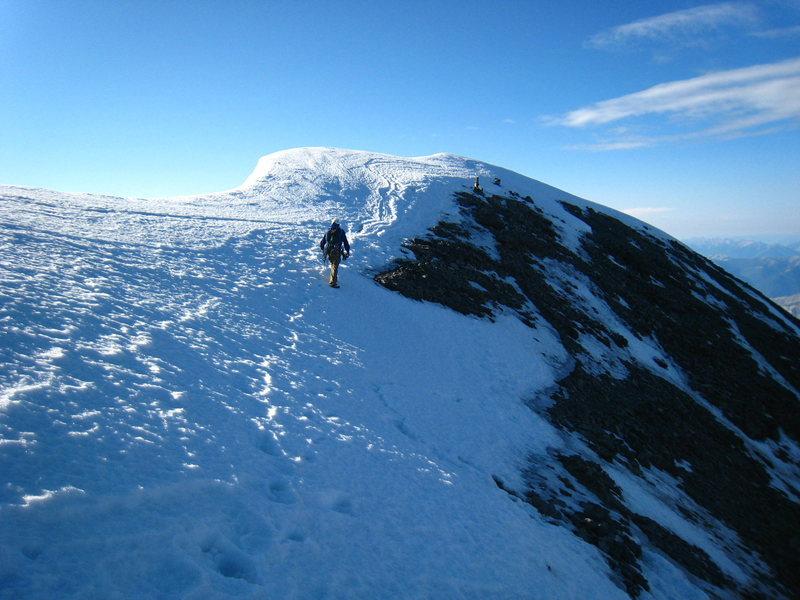 Rock Climbing Photo: Making the last steps to the summit of Mt. Assinib...