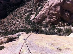 "Rock Climbing Photo: Kabir clearing the ""bulge"" on the last a..."