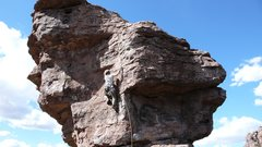 Rock Climbing Photo: Bracing for the unknown crux...
