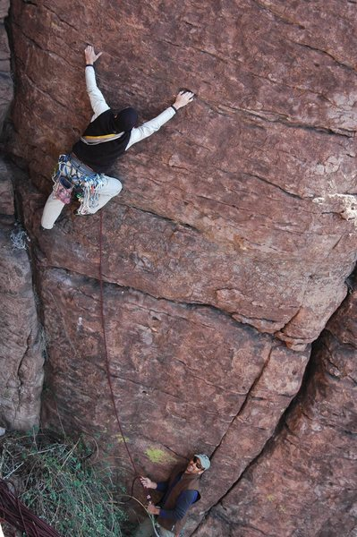 "David on the FA of ""Gabriel's Watch""; my second ascent soon followed. Photo by Hanna. Another sweet new route!"
