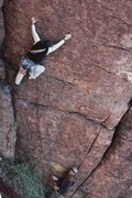 "Rock Climbing Photo: David on the FA of ""Gabriel's Watch""; my..."
