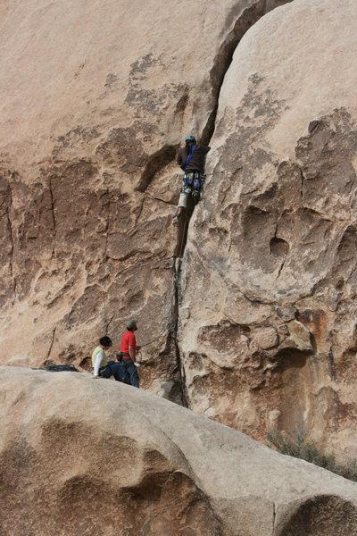 Rock Climbing Photo: Albert Rameriz having a fun lead on Jessica's Crac...