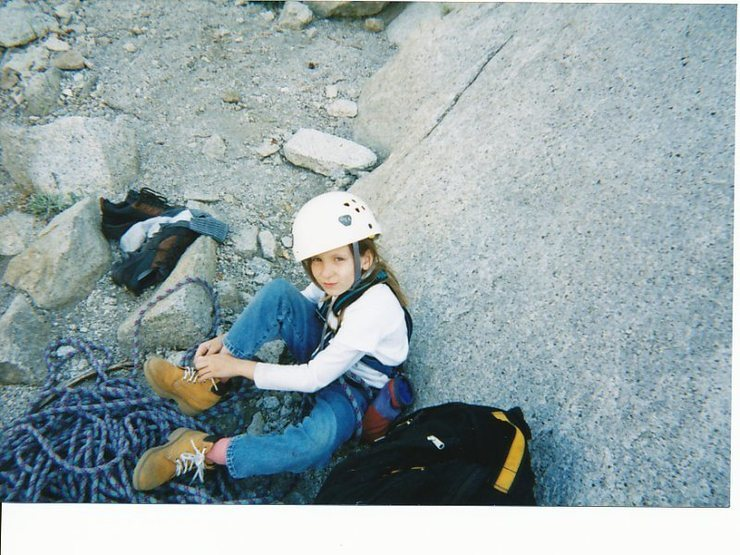 "My niece Brittany, age seven. Britts second Yosemite multi pitch climb. ""Don't give me that look!"""