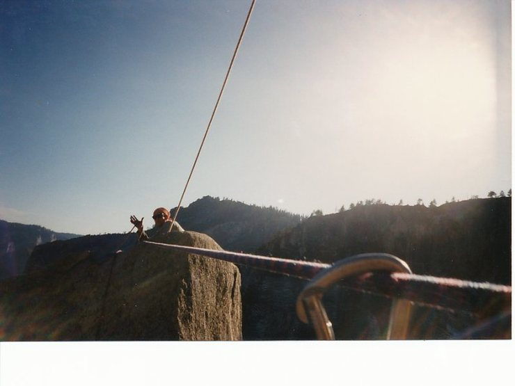 Crossing the Tyrolean traverse. Sean and I climbed this when most of the bolts were ripped out or damaged. He led the last pitch cinch tying broken bolts and a cam placement to this day I am not sure how it held. After this, Sean didn't feel like taking pictures.